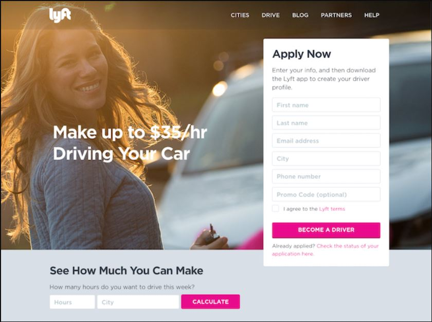 contoh landing page from lyft
